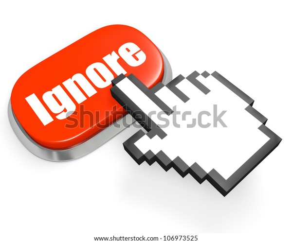 Oval red button Ignore and hand cursor