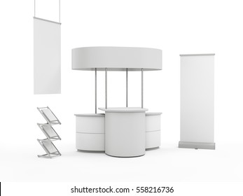 Oval stand mock-up with hanger and roll-up. 3D rendering