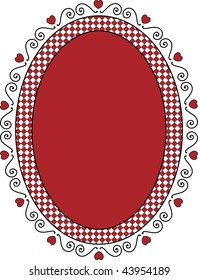 Oval Valentine frame or tag with red copy space, curly hearts and gingham trim.