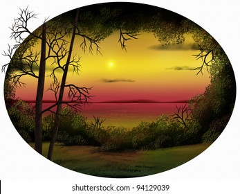 oval-shaped digital painting of a warm sunset surrounded by foliage