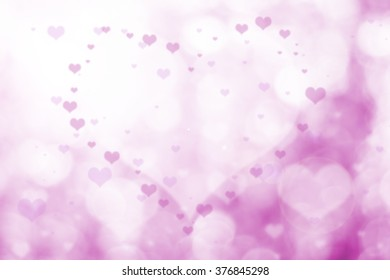 Over blurred pink flower with De focused heart bokeh textures valentine day background with light flare from conner, art, VectorIllustration of a Valentines Day Cardlove,  Happy valentine day concept