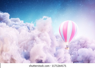 Over the Clouds. Unusual 3d illustration of an air balloon over Fantastic clouds.