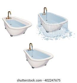 Over flowing bath tub with the tap running. Various states and water levels.