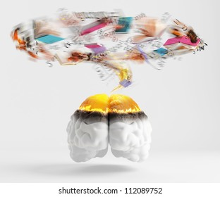 Over read brain spinning whirlwind consisting of books and formulas