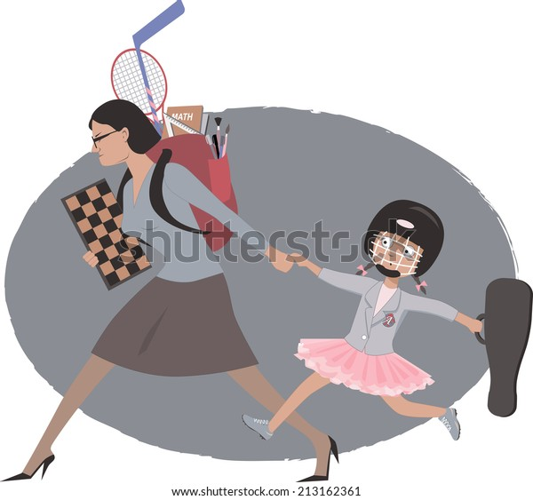 Overachieving mother dragging her little girl to multiple after school activities