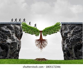 Overcome adversity as a business concept with a group of people running from one cliff to another with the help of a tree for bridging the gap for success with 3D illustration elements.