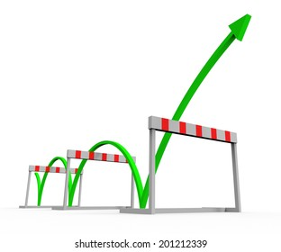 Overcome Obstacle Showing Jump Hurdle And Winner