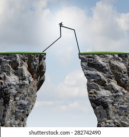 Overcoming an obstacle concept as a businessman with very long legs walking past through two high cliffs as a success bridge metaphor to surmount an obstruction and solve a problem.