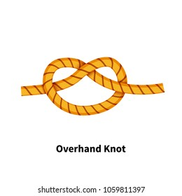 Overhand sea knot. Bright colorful how-to guide isolated on white