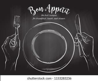 Overhead hands holding a knife and fork by a white plate on a table on white background. Fork and knife in hand chalk drawing on the blackboard illustration. Cutlery manual sketch line drawing.