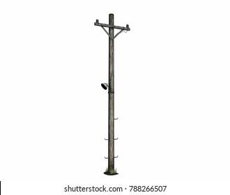 Overhead power lines 3D rendering
