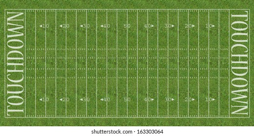An overhead view of an american football field with white markings painted on grass.