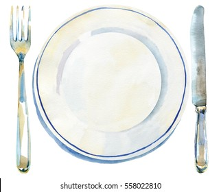 Overhead view of empty white plate with fork and knife. Watercolor hand drawn isolated illustration.