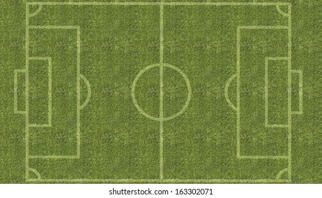 An overhead view of a football soccer pitch with white markings painted on grass.