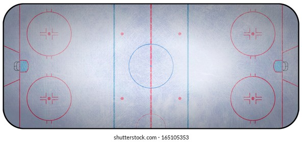 An overhead view of an ice hockey rink complete with markings.