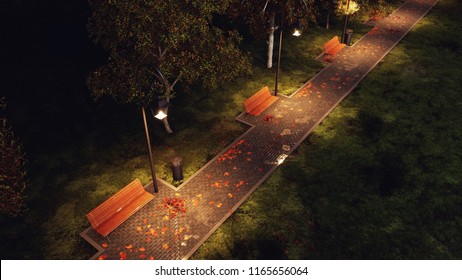 Overhead view of wet after rain park walkway lit by street lamps with empty benches, autumn trees and fallen leaves at dark autumnal night. 3D illustration from my own 3D rendering file.