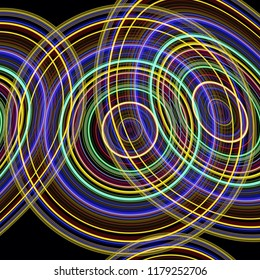 overlapping bright concentric circles glowing neon colourful modern design on a black background