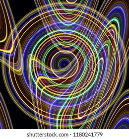 overlapping distorted concentric circles glowing neon colourful modern design on a black background
