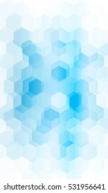 Overlapping hexagonal patterns. Light Blue gradient banner. Raster copy illustration. for the design, printing, business