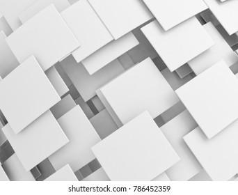 Overlapping white squares. 3d illustration