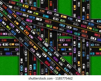 Overload of Cars on Roads Bitmap Illustration
