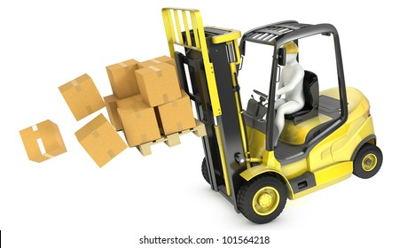 Overloaded yellow fork lift truck falling forward, isolated on white background