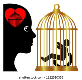 Overprotection of kids with disabilities. Overprotective mother who is raising her disabled child in a totally restricted environment compared to a gilded cage
