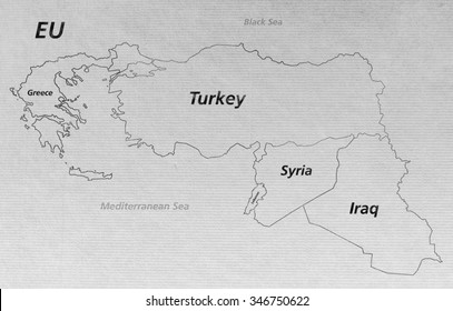 Overview Crisis Map Turkey Syria Iraq Stock Illustration - Royalty ...