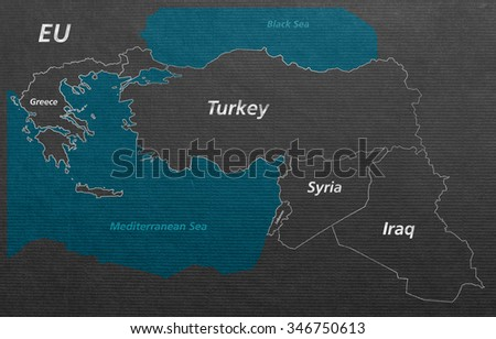 Overview Crisis Map Turkey Syria Iraq Stock Illustration - Royalty ...