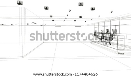 Overview Empty Shopping Mall 3 D Render Stock Illustration
