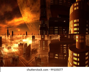 Overview of Futuristic City and Moon from Skyscraper Tower
