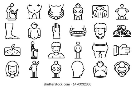 Overweight icons set. Outline set of overweight icons for web design isolated on white background