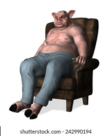 An overweight pig-man sits slouched in a chair - 3d render.