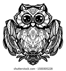 The owl is black color with white background.