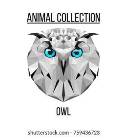 Owl blue eyes head geometric lines silhouette isolated on white background vintage design element illustration