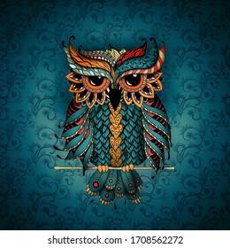 Schale in Blau- und Orangenfarben. Zentangl und dutzender Stil. Malbücher für Erwachsene, meditative Färbung. Zeichnen von Hand.