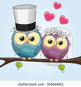 Owl Bride and Owl groom on a brunch