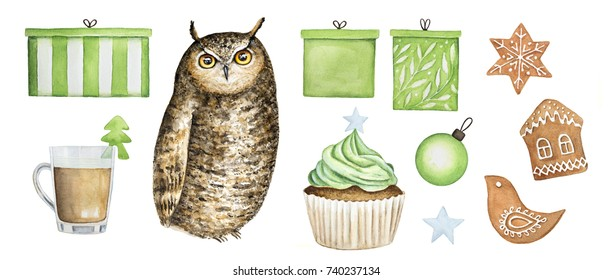 Owl collection, christmas symbol icon set. Gift boxes, gingerbread cookies (house, bird, snowflake), cupcake, star, coffee cup decorated with fir tree, christmas tree ball. Watercolor illustration.