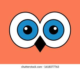 Owl eyes, big white blue eyes