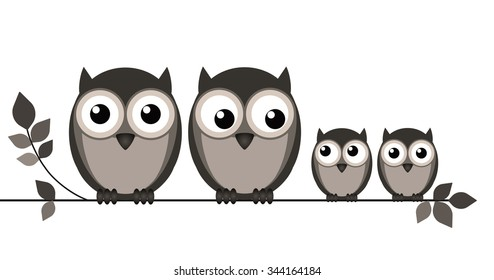 Owl family on branch isolated on white background