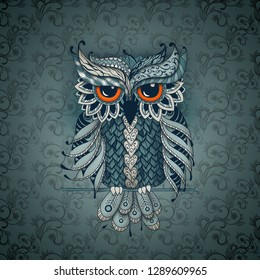 Owl in Green color. Zentangl and dudling style. Adult coloring books, meditative coloring. Drawing by hand.