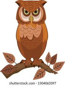 owl icon perching gesture brown decor cartoon sketch