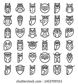 Owl icons set. Outline set of owl icons for web design isolated on white background