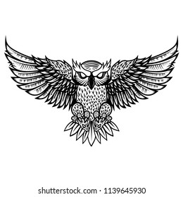 Owl illustration in tribal style. For poster, print, card, banner.