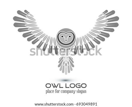 owl logo lineart template line art thin stock illustration 693049891
