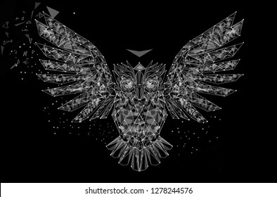 Owl in low poly style. Polygonal geometric triangular wire graphic construction structure.