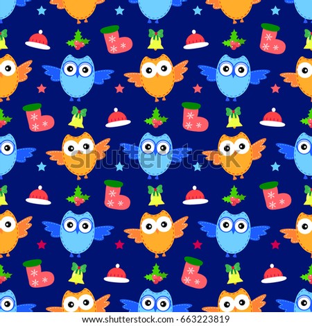 owl new year seamless pattern raster bell berry