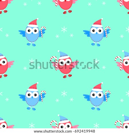 owl new year seamless pattern raster