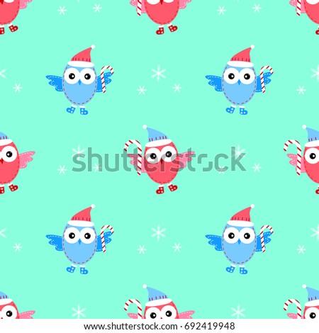owl new year seamless pattern raster