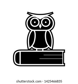 Owl on the book, logo, education emblem icon. Element of Education for mobile concept and web apps icon. Glyph, flat icon for website design and development, app development